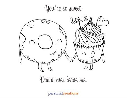 free valentines day coloring pages printables - Donuts Coloring Pages