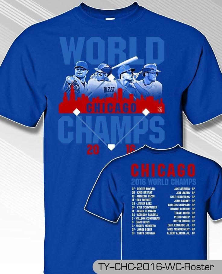 CHICAGO CUBS WORLD SERIES ROSTER SHIRT  MLB1315R #MLBPA