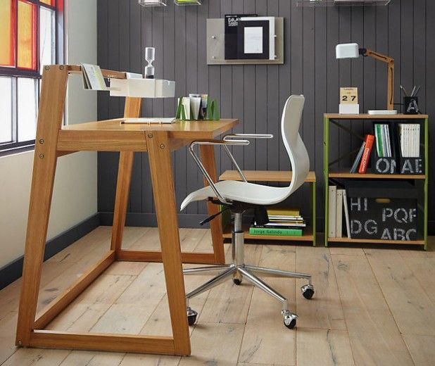 The sleek, angular frame of the CB2 TLD Desk will add a gorgeous finish to any office or working environment. Designed by Jannis Ellenberger, the frame and veneer surfaces are carved from oak and the contemporary style makes optimum use of space with a floating shelf and hanging drawer, both of which are finished with a sharp white sheen.
