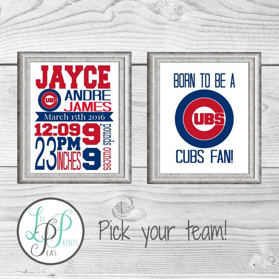 Chicago Cubs Birth Stats Print Cubs Nursery by LilPeasPrints