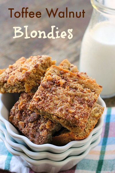 Toffee Walnut Blondies are little bites of bliss that are incredible easy to make. Everything comes together in a saucepan, that's it! No mixer required.