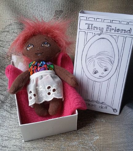 Tiny Friend Pocket Doll - Handmade, One of a kind by ThePlayfulEye on Etsy
