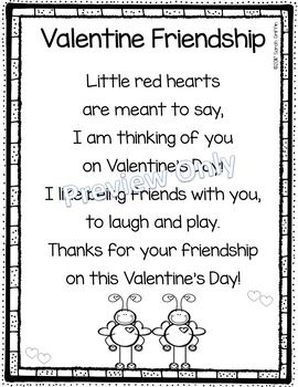 Valentines Day | Friendship | Poem for Kids | printable | poem of the week | poetry notebook | friends | kindergarten | 1st grade