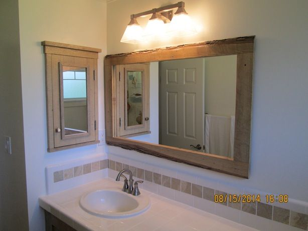 Reclaimed Wood Mirror Small Square Mirror Bathroom Mirror: Barn Wood Medicine Cabinet And Mirror Frame.