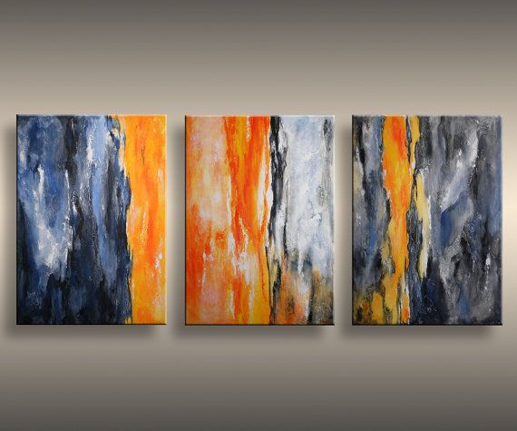 60 Original Textured Abstract Painting on Canvas  Contemporary Modern Art Orange Blue Gray painting  Wall Hanging wall decor via Etsy