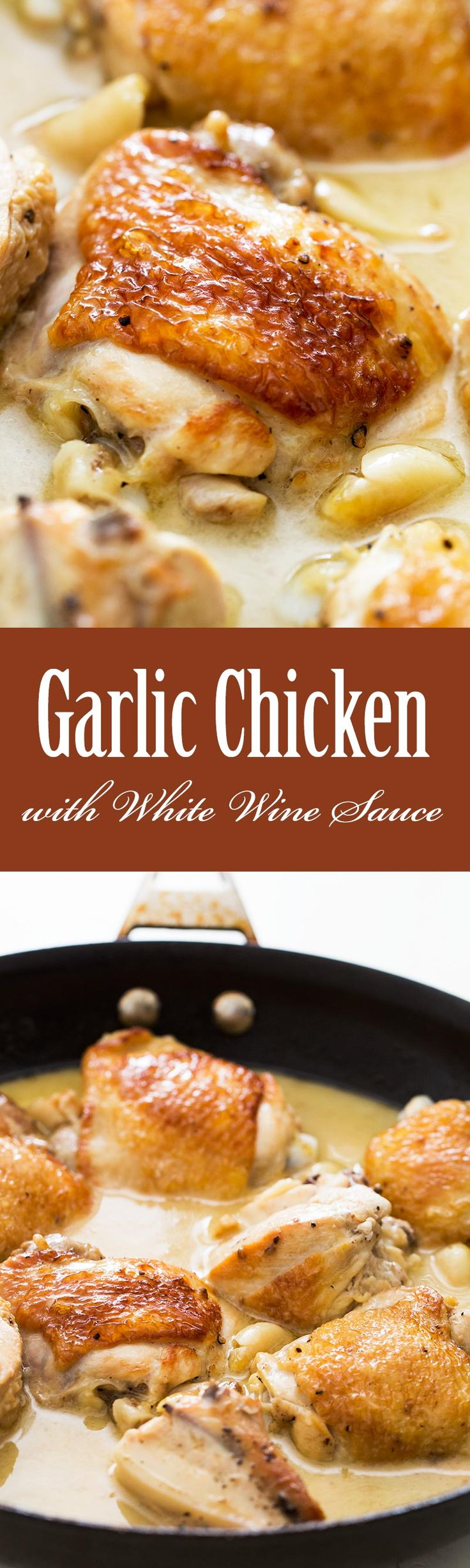 One Pan Stovetop 40 Clove Garlic Chicken! Chicken browned first in olive oil, then braised in white wine sauce with 40 cloves of garlic and thyme. On SimplyRecipes.com