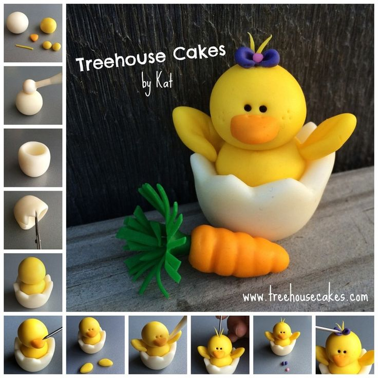 DIY hatching chick made of fondant. Stand alone or atop your Easter cake.