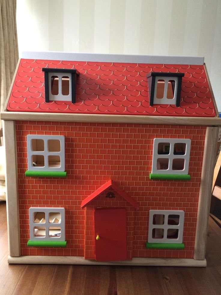 Large Wooden Dolls House & Lots Of Furniture Toys SOLID WOOD BARGAIN