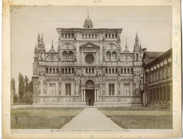1894 picture by Natale Magnini (per i Fratelli Alinari), La facciata della chiesa (A. da Fossano), albumina, 1894, Fototeca storica di Brera