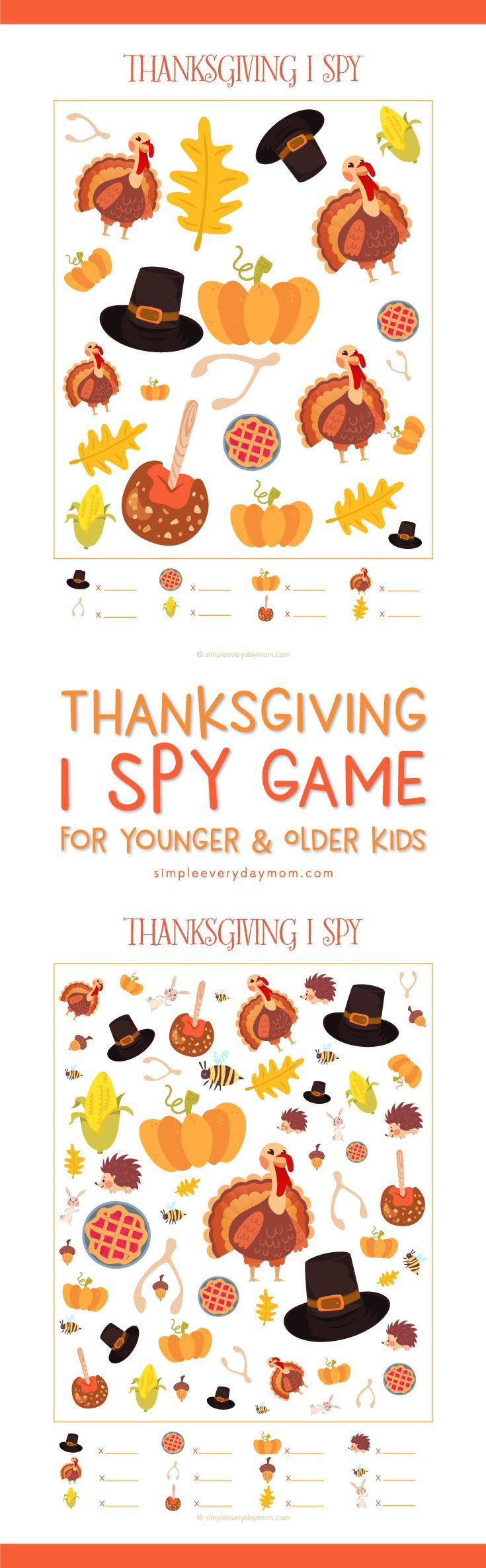 Thanksgiving I Spy game for preschool, kindergarten, first grade and beyond! Kids will love this fun Thanksgiving activity that's no prep work!
