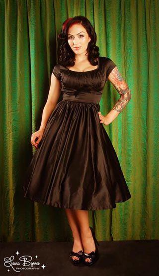 Black satin pin up dress the boudoir pinterest black for Pin up inspired wedding dresses
