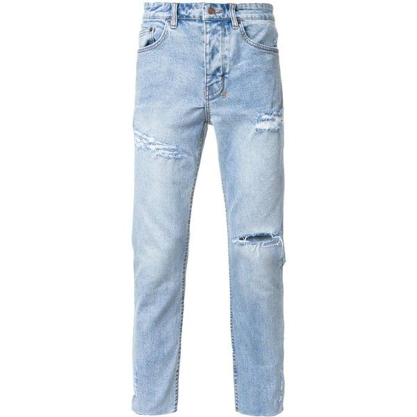 Ksubi distressed tapered jeans ($240) ❤ liked on Polyvore featuring men's fashion, men's clothing, men's jeans, blue, mens distressed jeans, mens tapered jeans, mens blue jeans, mens destroyed jeans and mens blue ripped jeans