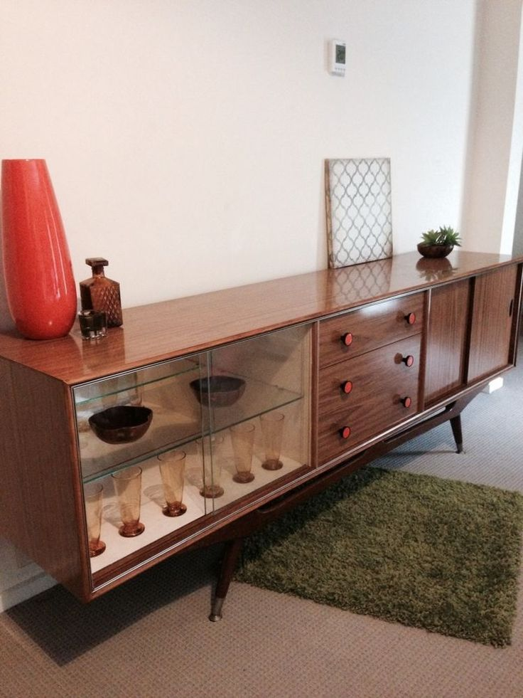 RETRO Vintage Sideboard atomic MID CENTURY era Buffet Display Cabinet 3 drawers