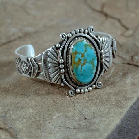 Gorgeous Navajo Sterling Silver Turqouis Bracelet