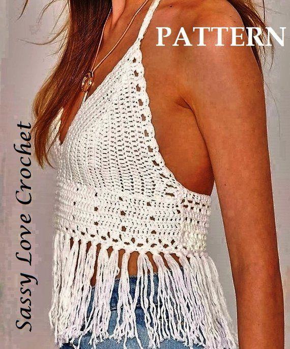 3af30c44a4 Crochet Halter Top Glamorous Fringe PATTERN - Crochet Crop Top Festival  PATTERN, Beach Crop Top