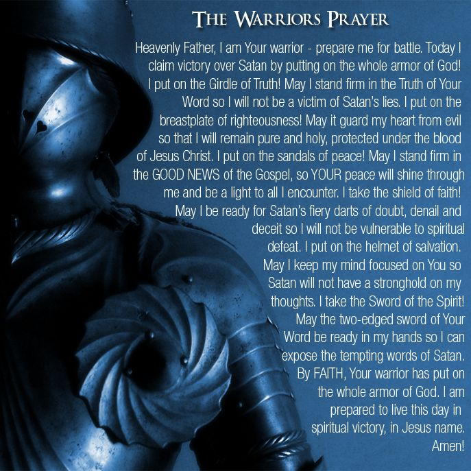 God's armor - don't leave bed in the morning without it!  I love it! Win victory in Jesus before you leave the house!!!!