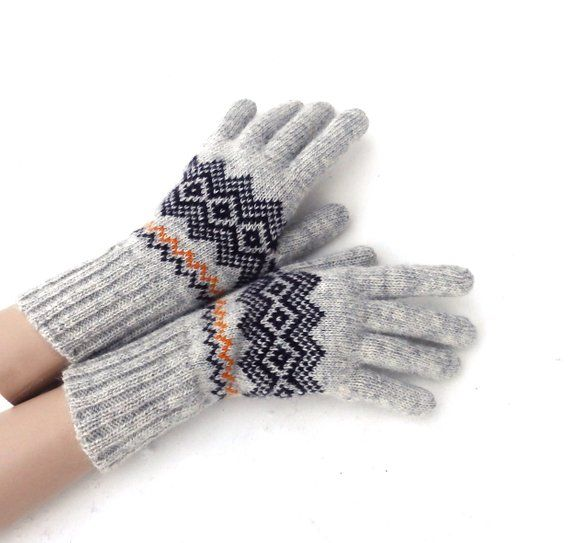 dc967fc43e0 Knitted wool gloves, patterned grey black gloves, latvian gloves ...