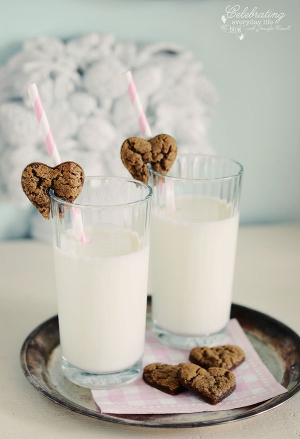 Gingerbread Hearts cookies & milk, valentine cookie treat, valentine's day. No baking required- love this!
