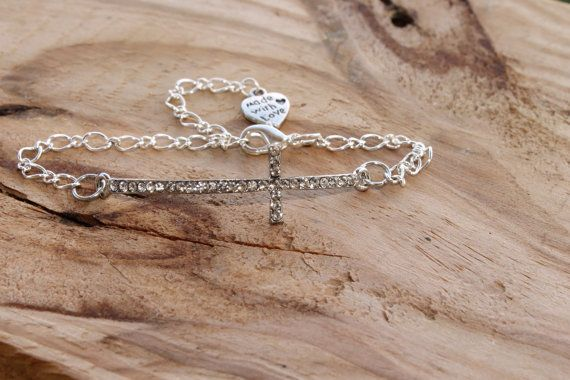 Crystal Cross Infinity Bracelet Prosperity Sliver by tranquilityy