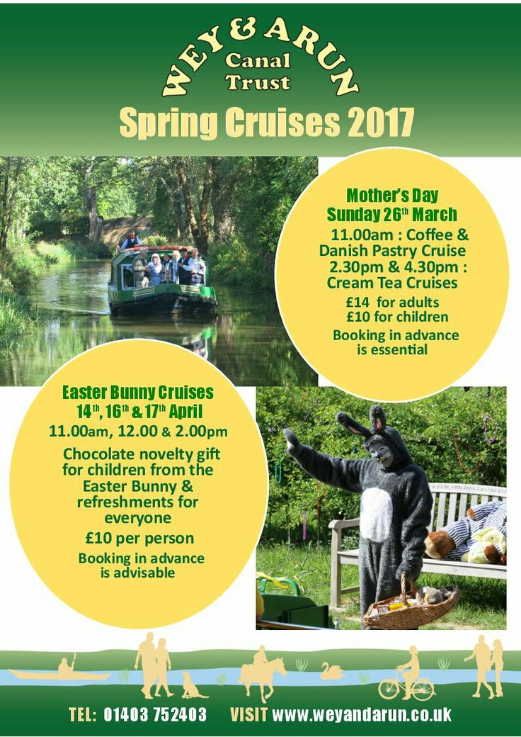 Mothering Sunday &  Easter Bunny cruises on the beautiful Wey & Arun  Canal.