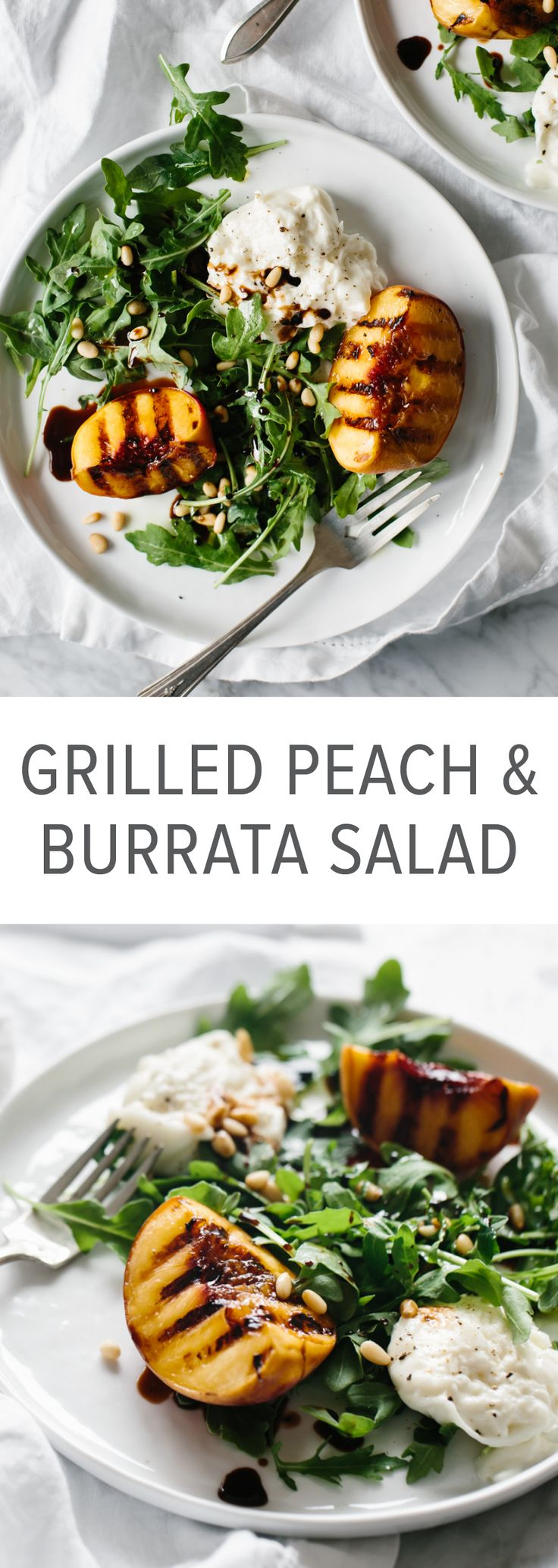 This grilled peach and burrata salad is summertime on a plate. The mix of grilled peaches, arugula, burrata, pine nuts and balsamic is the perfect summer salad recipe.