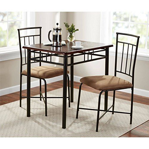 Walnut 3 Piece Dining Table Set Bistro Metal Chairs Breakfast Small Kitchen Furniture Small Kitchen Furniture 3 Piece Dining Set Metal Dining Set