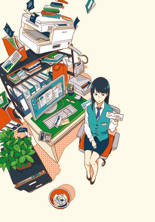 集英社『これは経費で落ちません! ~経理部の森若さん~』(著:青木祐子) 装画 I drew the cover illustration for the novel by Yuko Aoki, published by Shueisha Inc.