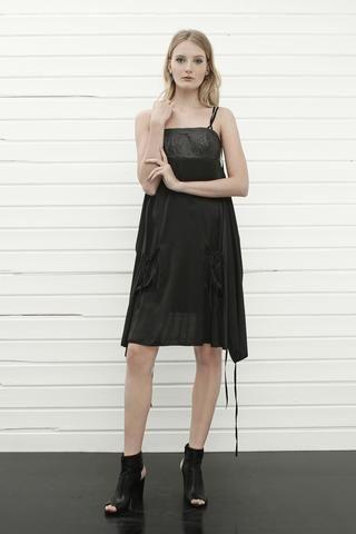 konsanszky_collection SS16_MAUVE silk-leather dress