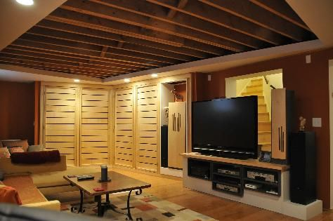 Exposed Ceiling In The Basement Basement Ideas Pinterest Lighting Soun