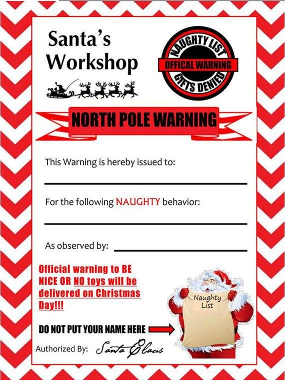 Naughty Warning Printable Elf On The Shelf Pinterest