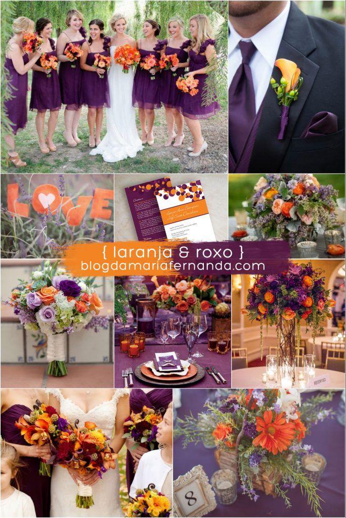 Decoração de Casamento : Paleta de Cores Laranja e Roxo | Blog de Casamento DIY da Maria Fernanda