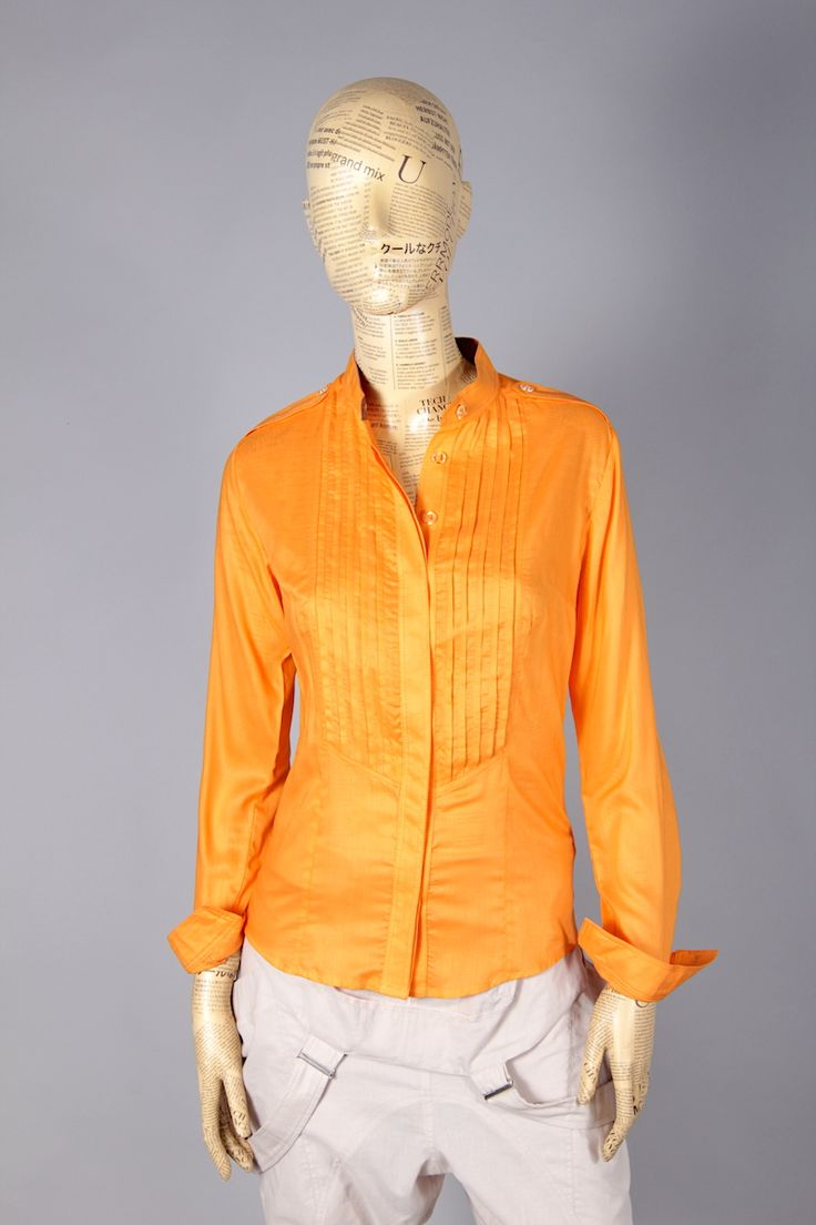 ORANGE SHIRT WITH FRILLS ON CHEST [MBA46] - 47.60EURO : www.madebyartist.ro - shop, www.madebyartist.ro - shop