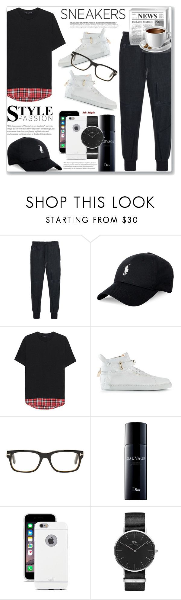 """""""#49 So Fresh - White Sneakers: 29/08/17"""" by solyda-sok ❤ liked on Polyvore featuring Y-3, Polo Ralph Lauren, Neil Barrett, BUSCEMI, Tom Ford, Sephora Collection, Moshi, Daniel Wellington, men's fashion and menswear"""