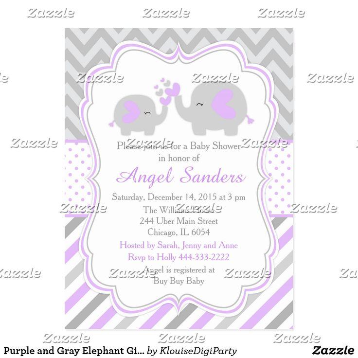 Purple and Gray Elephant Girl Baby Shower Postcard