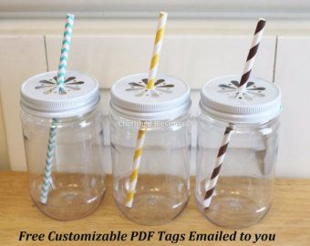 Plastic Mason Jars with Lids. Wedding favors, mason jar cups, mason jar favors, cherishedblessings.etsy.com