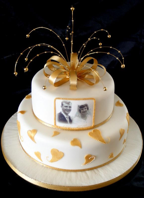 "Golden Anniversary Decorations | 10"" & 7"" Golden Wedding anniversary cake £165"