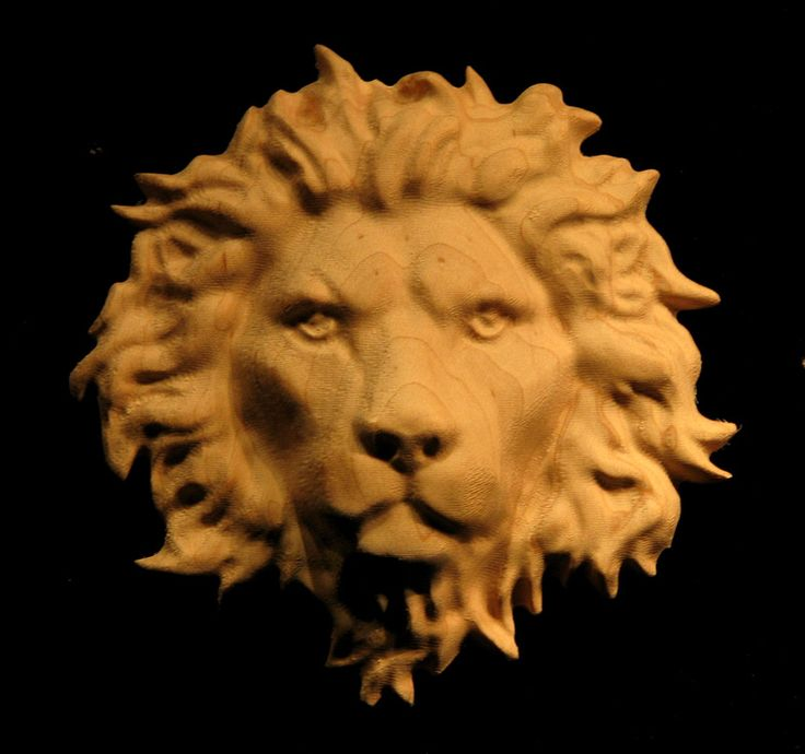 Wood Carved Lion - Onlay Applique - Carved Lion Head (Closed Mouth)