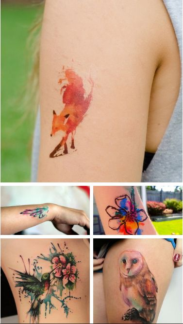 Adorable water color tattoo in the shape of a fox.