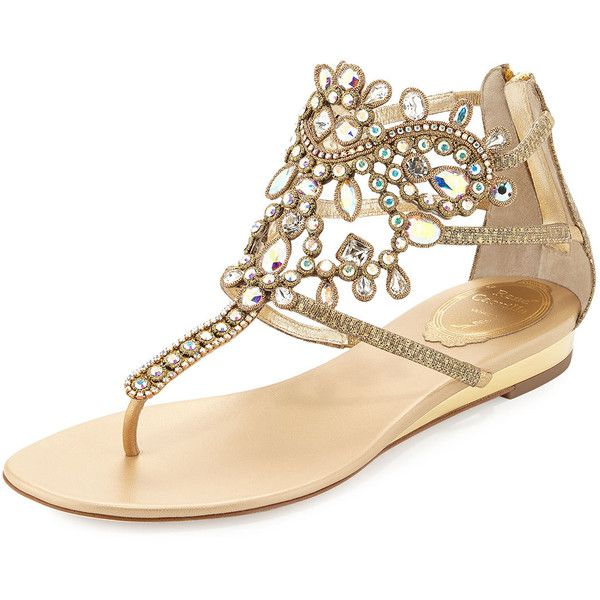 Rene Caovilla Crystal-Embellished Leather Flat Sandal ($1,365) ❤ liked on Polyvore featuring shoes, sandals, sapatos, flat sandals, rene caovilla, gold, stretch sandals, strap wedge sandals, wedge heel sandals and flat strap sandals