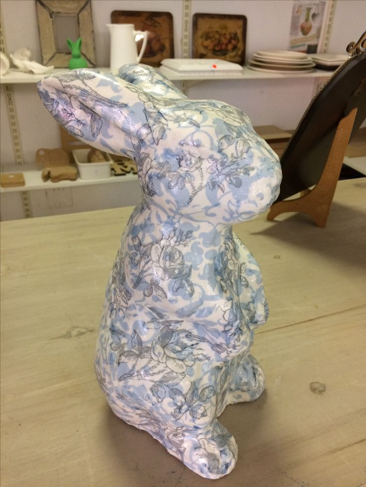 Take a white ceramic bunny and wrap her up in decoupaged serviettes! Sheryl is in love with her newly dressed rabbit which she will add to her growing collection!