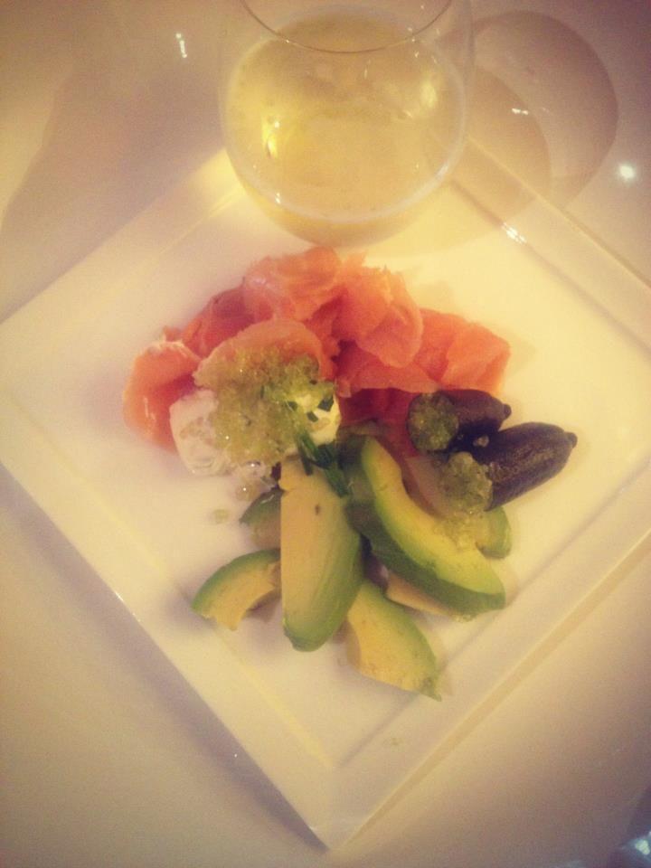 Smoked salmon, avocado and Finger Lime.