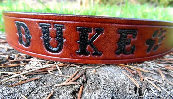 Personalized Leather Dog Collar Engraved Dog by HiHorseRanch