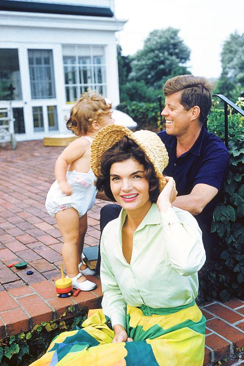 Caroline Kennedy, John F. Kennedy and Jacqueline Kennedy at Hyannis Port photographed by Mark Shaw, 1959.