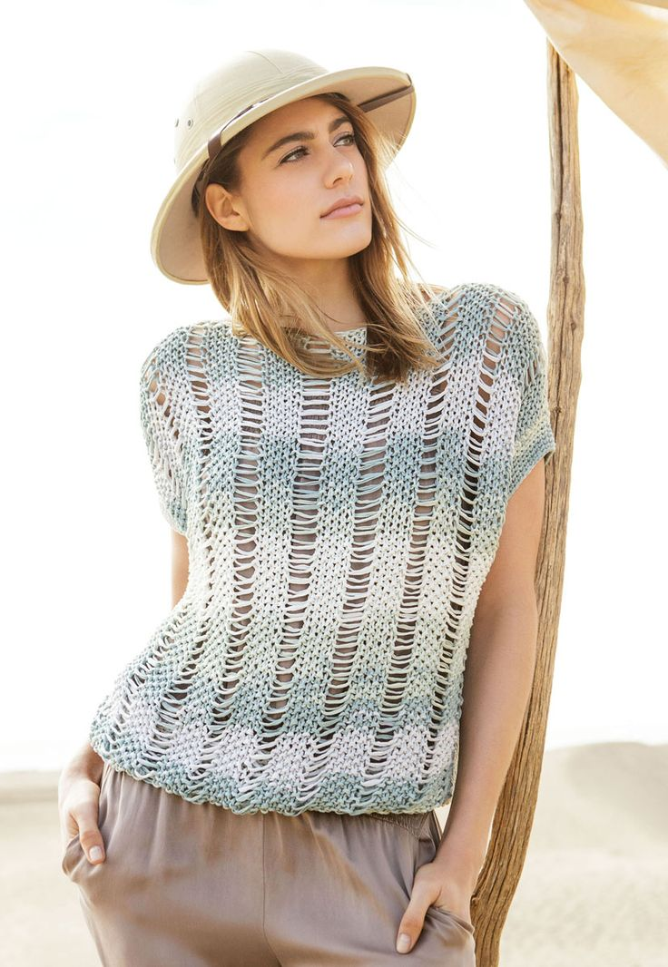 Lana Grossa TOP IM PERLMUSTER MIT FALLMASCHEN Primavera - FILATI Handstrick No. 67 - Modell 45 | FILATI.cc WebShop