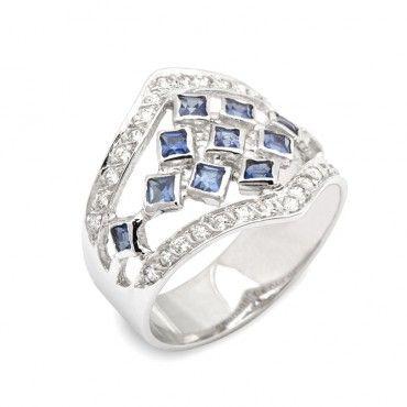 Χειροποίητο δαχτυλίδι λευκόχρυσο Κ18 με μπλε ορυκτά καρέ ζαφείρια και λευκά ζιργκόν στις ακμές του δαχτυλιδιού | Δαχτυλίδια ΤΣΑΛΔΑΡΗΣ στο Χαλάνδρι #ζαφείρι #ζιργκον #δαχτυλίδι #rings #jewelry
