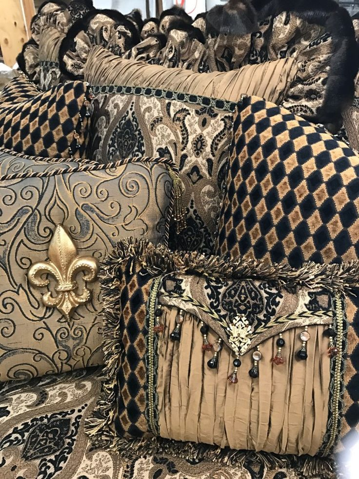 Luxury decorative Accent Pillows in bronze, gold, black paisley, tapestry, pleated silk and diamond chenille - embellished with beading, trims & medallions. By Reilly-Chance Collection