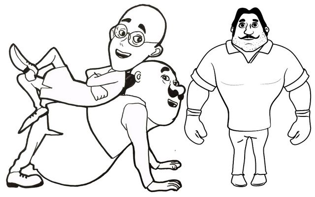 Motu Patlu And Boxercoloring Page Free Kids Coloring Pages Coloring Pages For Kids Cute Sketches