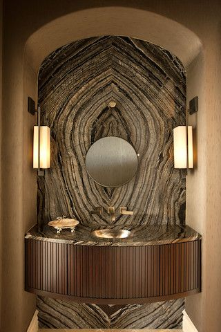 POWDER VANITY WALL.......south Florida knows luxury, this is just amazing! Ladies take a peek at Nature of Marble for the endless possibilities.