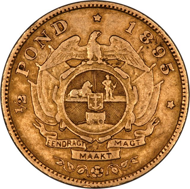 1895 South Africa Half Pond Gold...