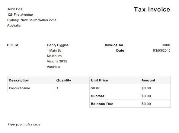 Free Tax Invoice Template Australia Invoice Template Invoice Template Word Microsoft Word Invoice Template